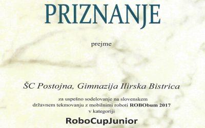 Priznanje Gimnaziji Ilirska Bistrica za uspešno sodelovanje na državnem robotskem tekmovanju