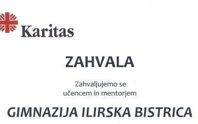 Zahvala Gimnaziji Ilirska Bistrica za sodelovanje v dobrodelni akciji Pokloni zvezek