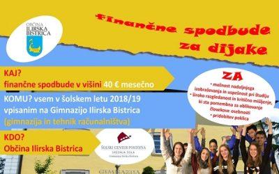 Finančne spodbude Občine Ilirska Bistrica za dijake Gimnazije Ilirska Bistrica v šolskem letu 2018/19
