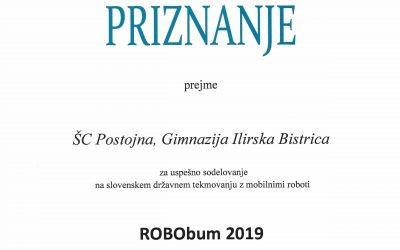 Priznanje Gimnaziji Ilirska Bistrica za uspešno sodelovanje na državnem tekmovanju z mobilnimi roboti in uvrstitev na evropsko robotsko tekmovanje