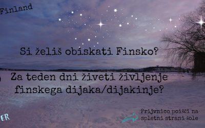 Gimnazijec/ka! Si želiš doživeti Finsko?