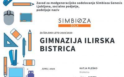 Gimnazija Ilirska Bistrica je že sedmo leto zapored Simbioza šola