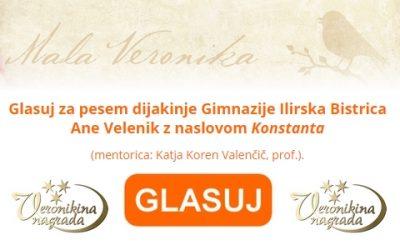 Nagradni pesniški natečaj za srednješolce mala Veronika 2021 – GLASUJ ZA ANO VELENIK!