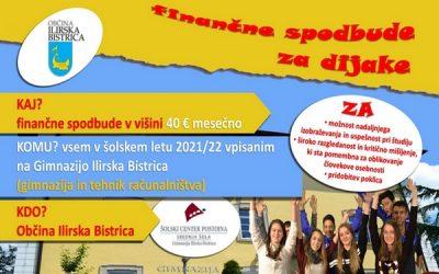 Finančne spodbude Občine Ilirska Bistrica za dijake Gimnazije Ilirska Bistrica v šolskem letu 2021/22